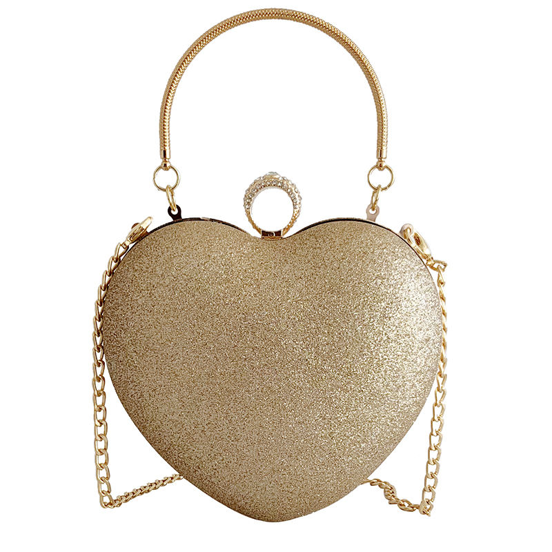 Fashion heart-shaped diamond evening clutch bags shoulder bag Evening Bag wholesale clear handbags factory price in china MOQ2