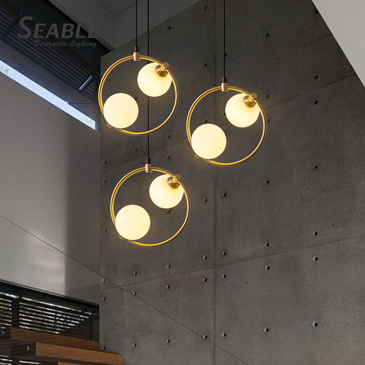 Seable classical dining room high ceiling chandelier modern LED ring chandeliers pendant lamp