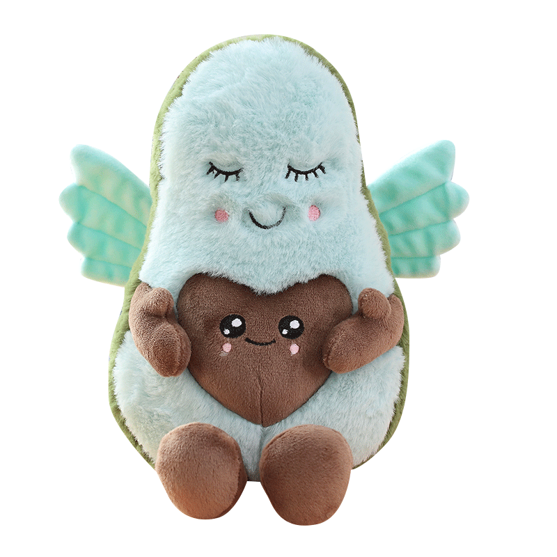 22cm stuffed Mr avocado plush toys with heart shaped belly Mrs avocado pregnant with baby and angel wings