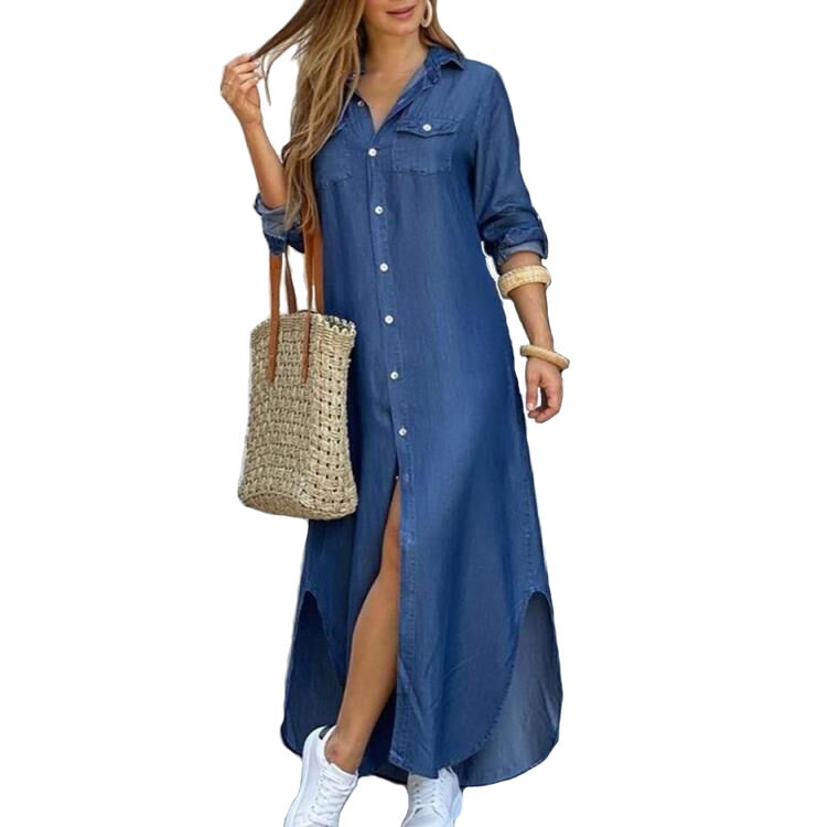 Color sólido Simple Camisa vaquera de manga larga vestido de 3XL suelto Casual damas Maxi vestido