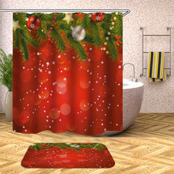 Red Christmas celebration shower room decoration polyester waterproof shower curtain non-slip mat set