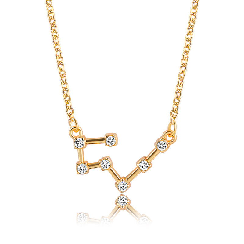 VRIUA Hot Sale Rhinestone 12 Zodiac Alloy Metal Sliver Golden Necklaces Pendants Choker For Women Long Chain Jewelry Gift