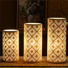 Wholesale high quality porcelain led night light ceramic table lamps home decor