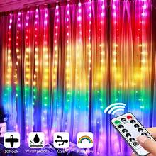 Rainbow curtain lights with remote control and 8 lighting modes USB powered flashing LED fairy curtain lights colored curtain st