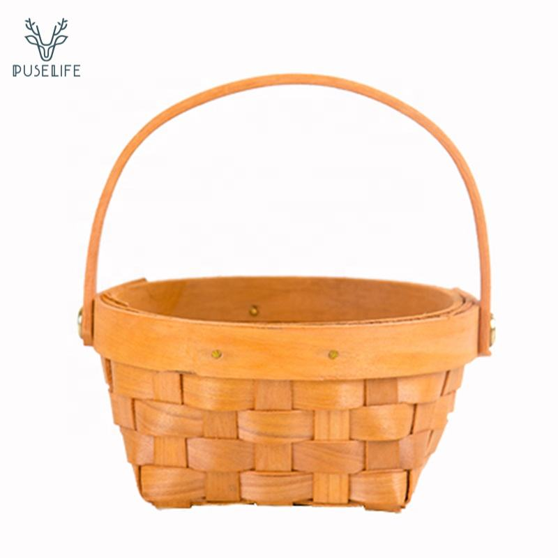Outdoor cheap mini picnic basket wood woven baskets with handle