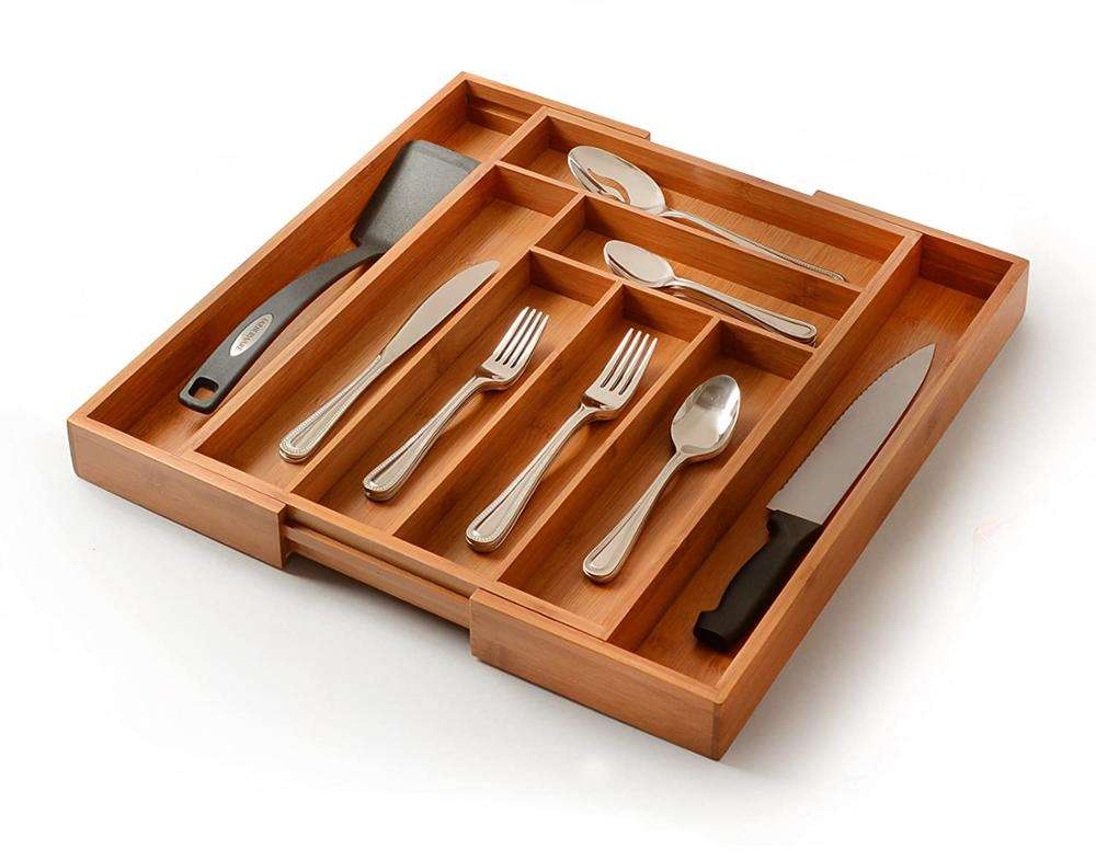 Universal Bamboo Kitchen Expandable Cutlery Tray Drawer Organizer