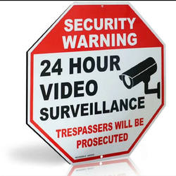 24 Hour Video Security CCTV Camera Surveillance Reflective Warning Metal Sign for Home Business