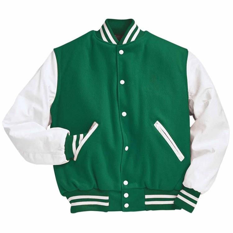 Custom OEM difference color stripe at cuff and bottom snap button Letter embroidery Vrasity Jacket for men