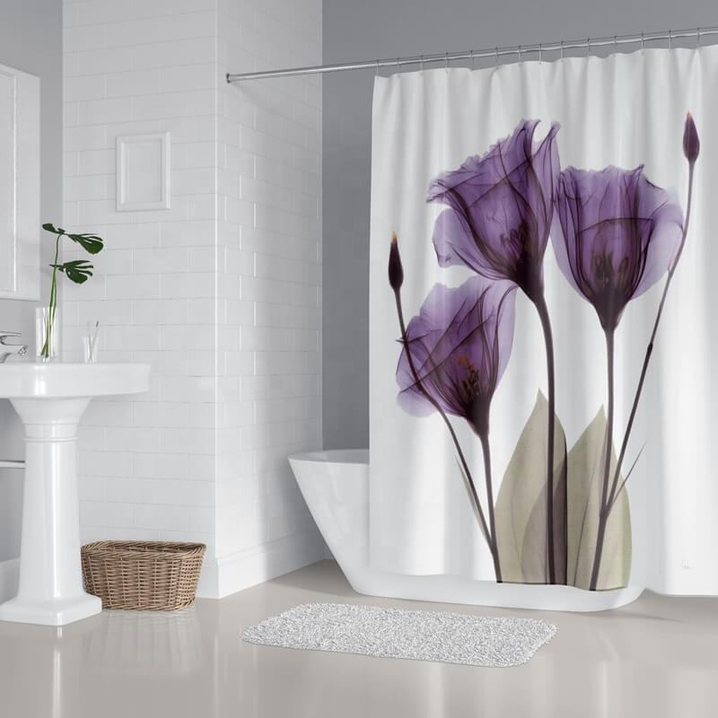 i@home daffodil 4 piece water resistant shower curtain set custom bath print with non-slip rugs