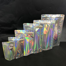 Custom logo zipper holographic cosmetic packaging bags / holographic pouches for eyeshadow packaging