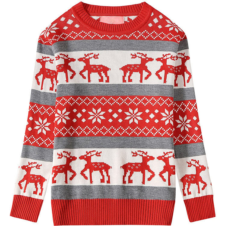 Crew Neck Adult Custom Pullover Jacquard Pattern Logo Knitted Christmas Sweater