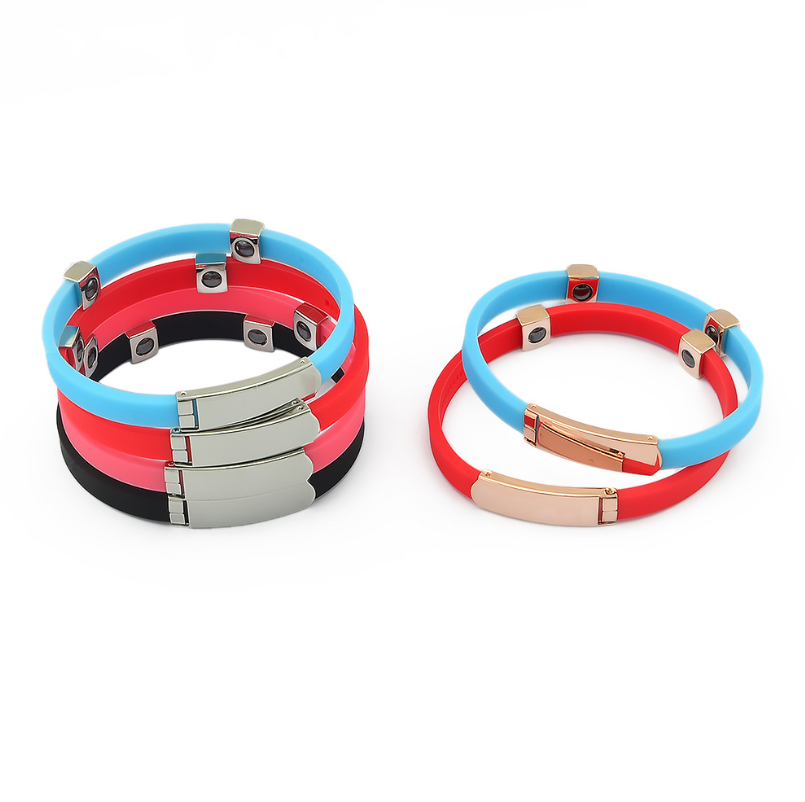 Personalized metal pulseras silicona stainless custom logo beads rubber charm colorful ion wristband silicone bracelet