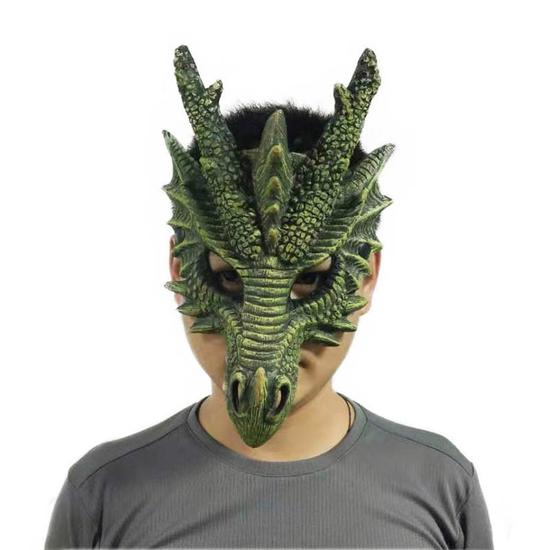 halloween carnival chinese masquerade realist head dragon half PU foam mask