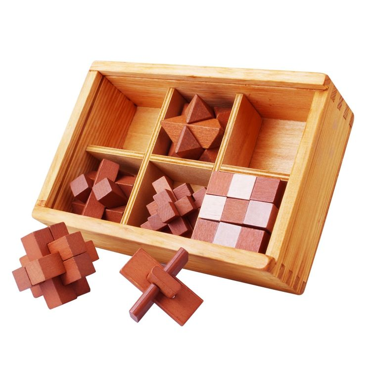 6PCS Kongming Lock Luban Lock Puzzle IQ Brain Teaser Mind Puzzle 3D Wooden Brain Puzzle With Wooden Box
