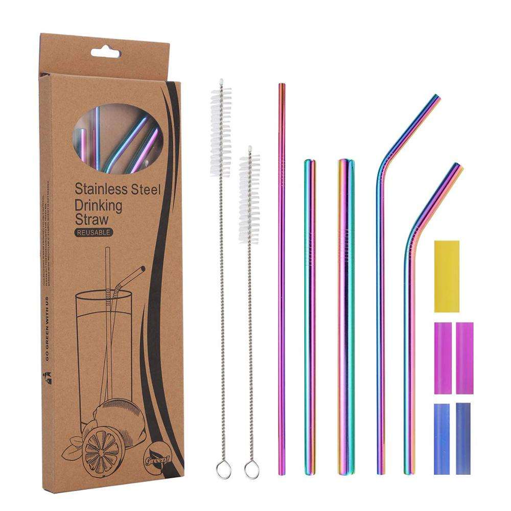 Eco Friendly straight reusable 18/8 stainless steel drinking metal straw