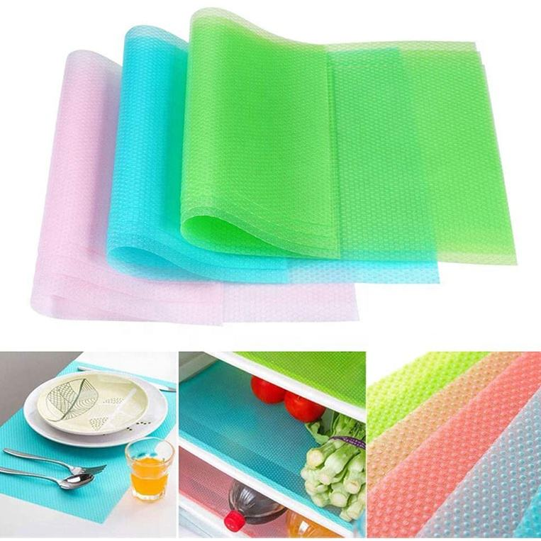 DIY Non-slip Plastic Table Placemats Washable Shelf Cupboard Refrigerator Mats Clear Fridge Drawer Liners For Kitchen