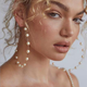 New Boho White Pearl Round Circle Hoop Earrings Women Gold Color Big Earings Jewelry Statement Earrings