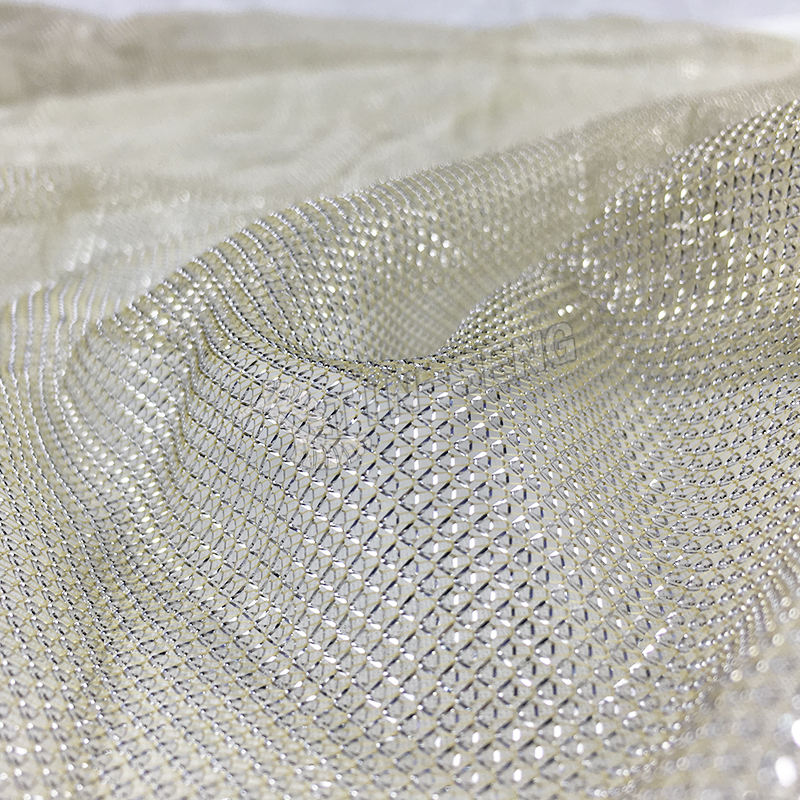 Silver Metallic Yarn Knitted Tulle Fabric , Shiny Fishing Net Mesh