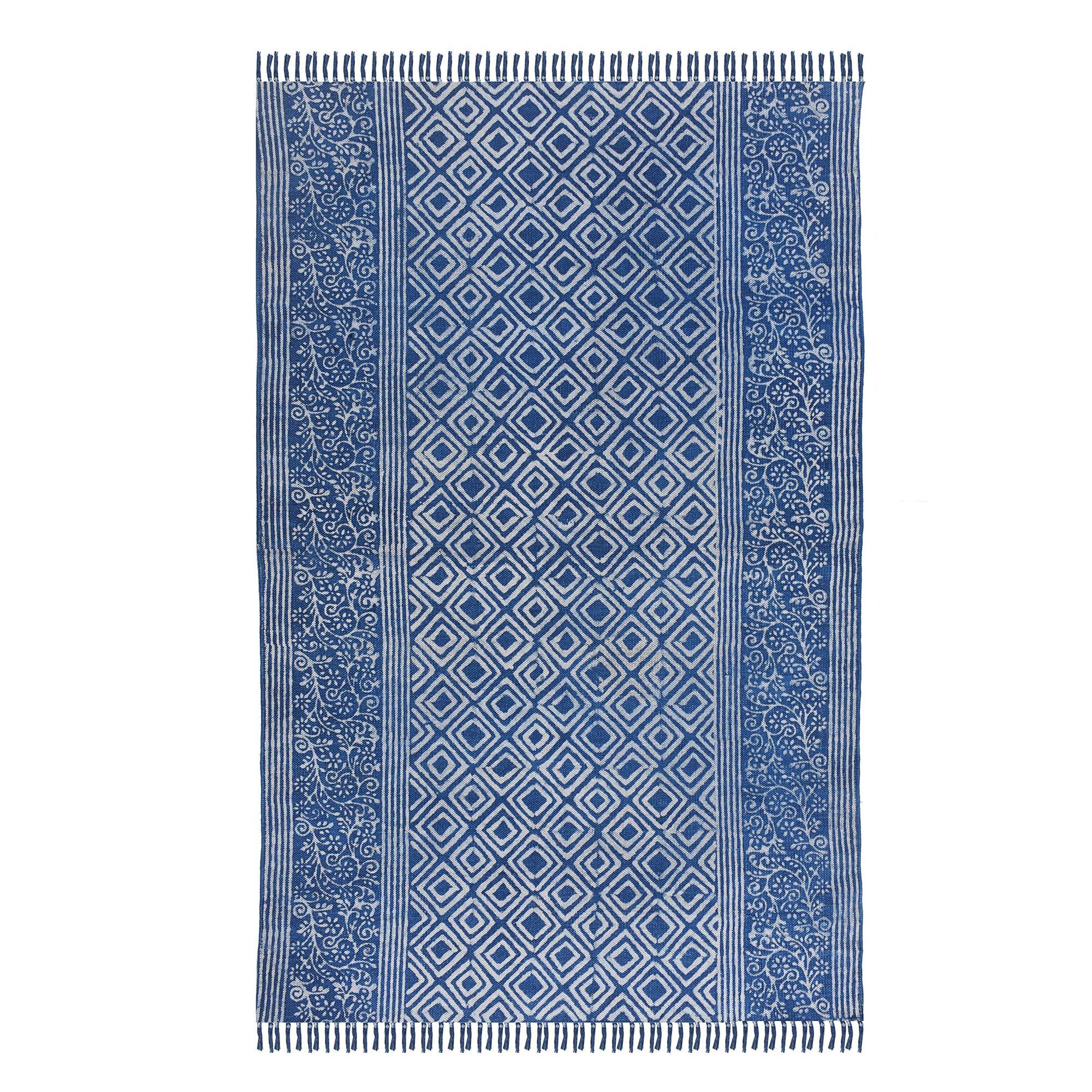 Hand Loom Woven Handmade Hand Block Printed Blue & White Indian Rugs Cotton Handicraft Carpet Rug