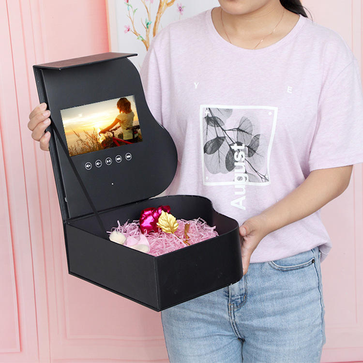Gift Box With Gift Mystery Cosmetic Wholesale Packaging Custom Rose Gift Surprise Set Flower Lcd Box With Lcd Screen