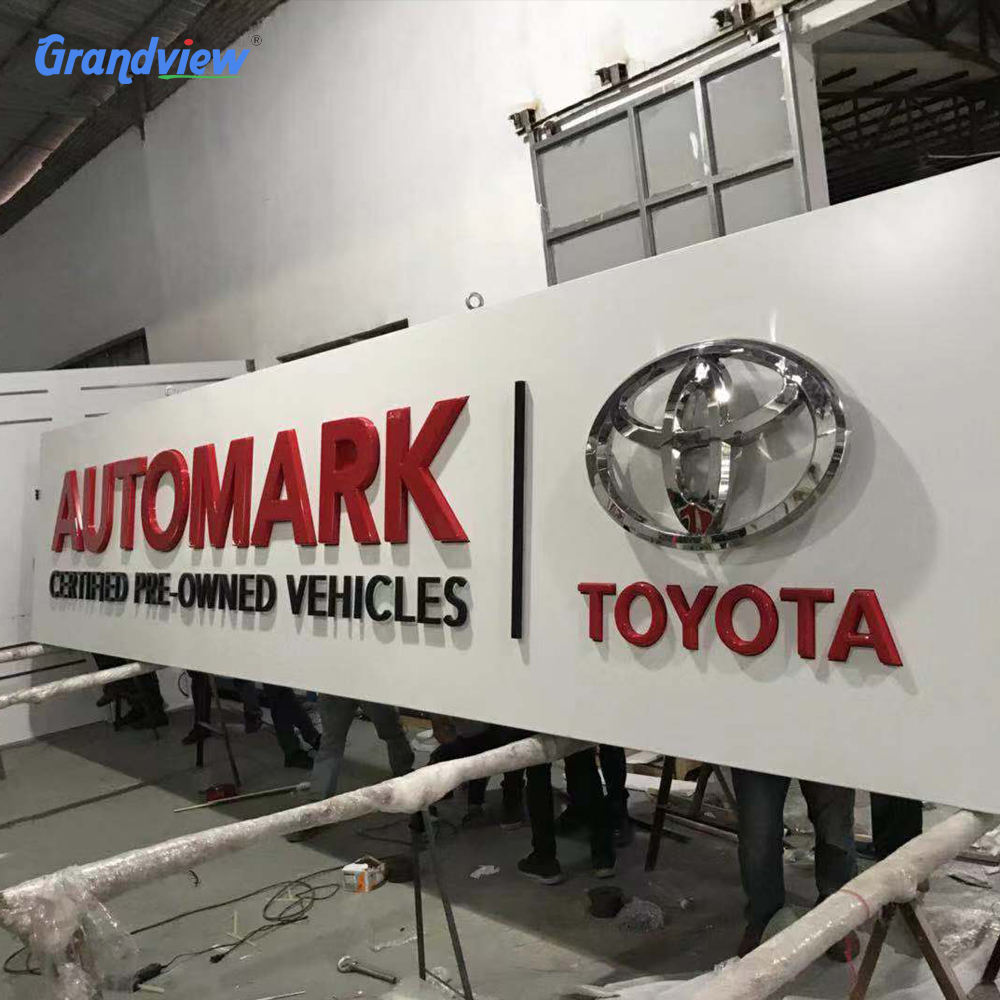 Large size 3D electric logo signboard Led metal backlit channel letters for 4D car shop