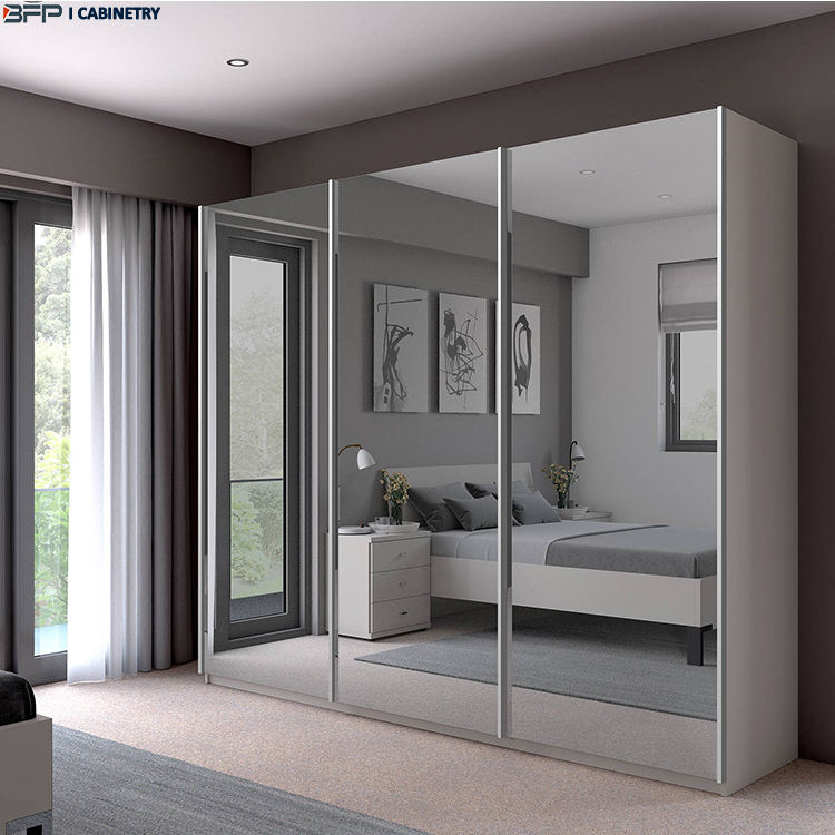 Clothes Aluminum White 3 Doors Single Mirrored Sliding Doors Dressing Wardrobe Closet