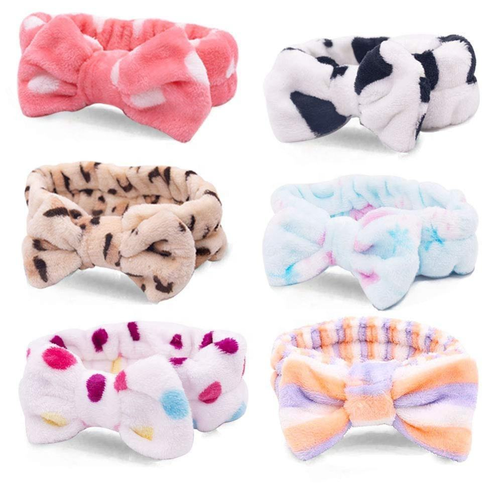Women Fleece Hair Lace Large Bow Face Wash Headband Makeup Hair Band