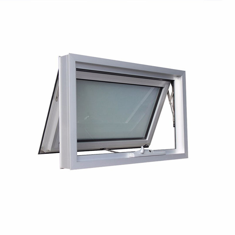 Double glass aluminum awning window with grill design for building