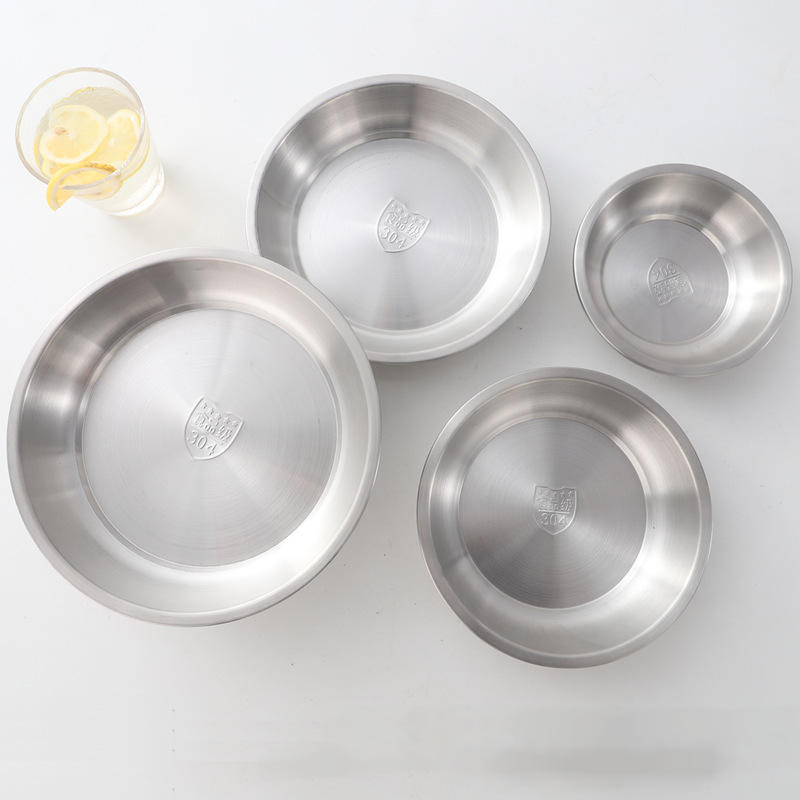 304 stainless steel salad plate dessert plate breakfast baking soup dish