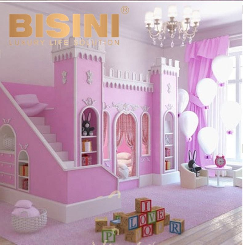 Children Double Bed With Stair And Cabinet Pink Castle Wooden Bunk Bed For 2 Kids