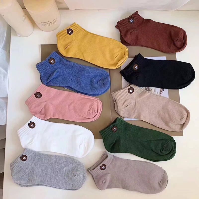 Wholesale Cheap Korean Cute Cartoon Bear Socks Hot Sale Gifts Bag Pack Ten Pairs A Bag Cotton Women Ankle Socks