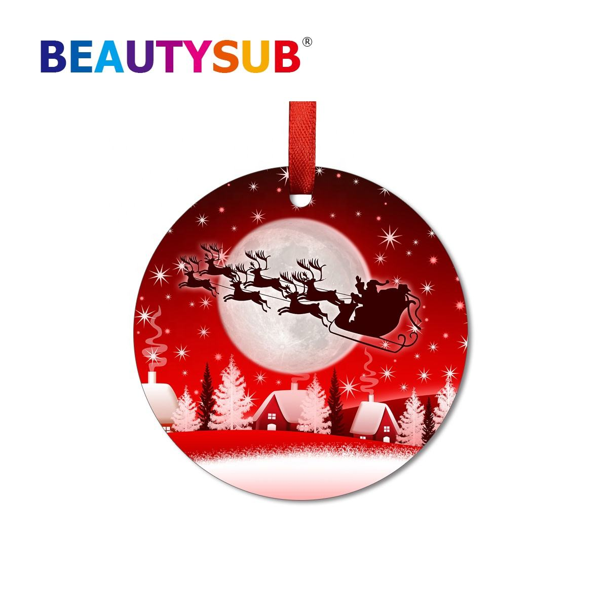 HD Gloss White Coated Dye Sublimation Aluminum Christmas Ornaments Printable Blanks For Heat Transfer Printing Metal Gifts