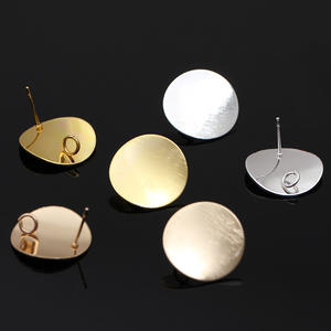 J3830 Stud Earrings Post with Loop Bent Round Ear Geometric Earring Studs Components for Earring Making