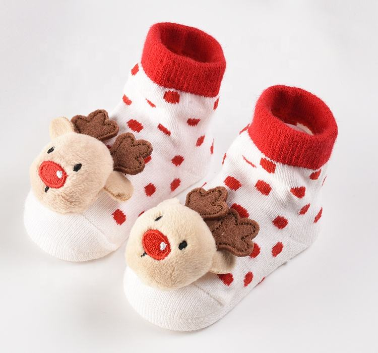 Socks Factory Cute New Born Custom Organic Cotton Winter With Grips Designer Toy Anti Slip Rattle Baby Socks Manufacturer