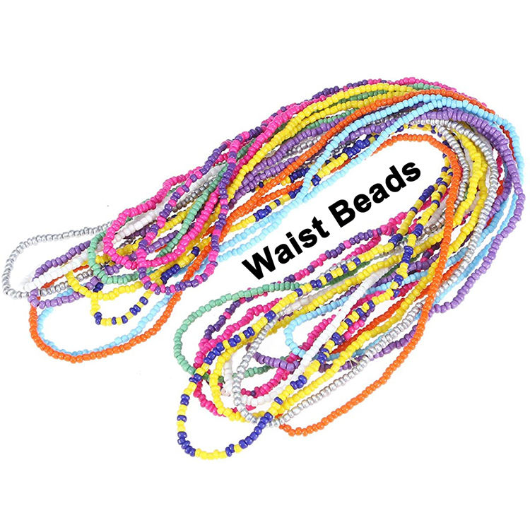 Wholesale Bohemian African Africa Ghana Women Glass Rice Seed Beaded String Bikini Body Jewelry Belly Chain Tie on Waist Beads