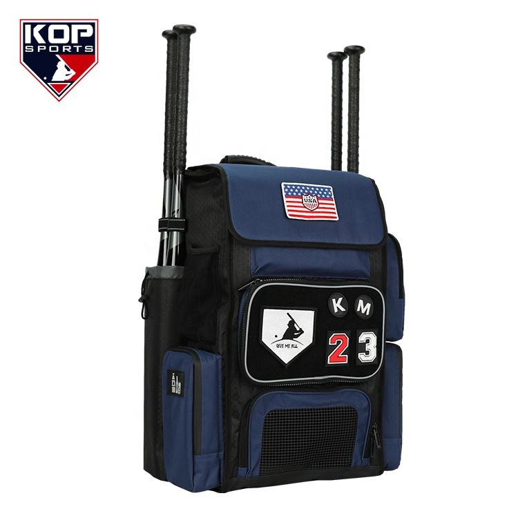 2020 Navy Blue Super Bat Pack Boomb Style Large Softball Baseball Backpack with team logo