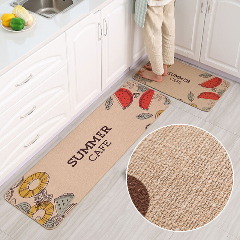Waterproof Custom Printed Indoor Vinyl Pvc Kitchen Rug Floor Mats Kitchen mat