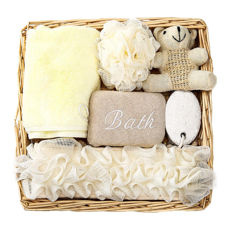 Beauty and Personal Care Bathing Accessories Custom Women Shower Bath SPA Gift Set with Towel Pumice Stone Loofah Mesh Sponge