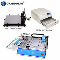 Low cost Small SMT Production Line: Stencil printer 4432 + CHMT36VA SMT Pick and Place Machine + Reflow Oven T962A