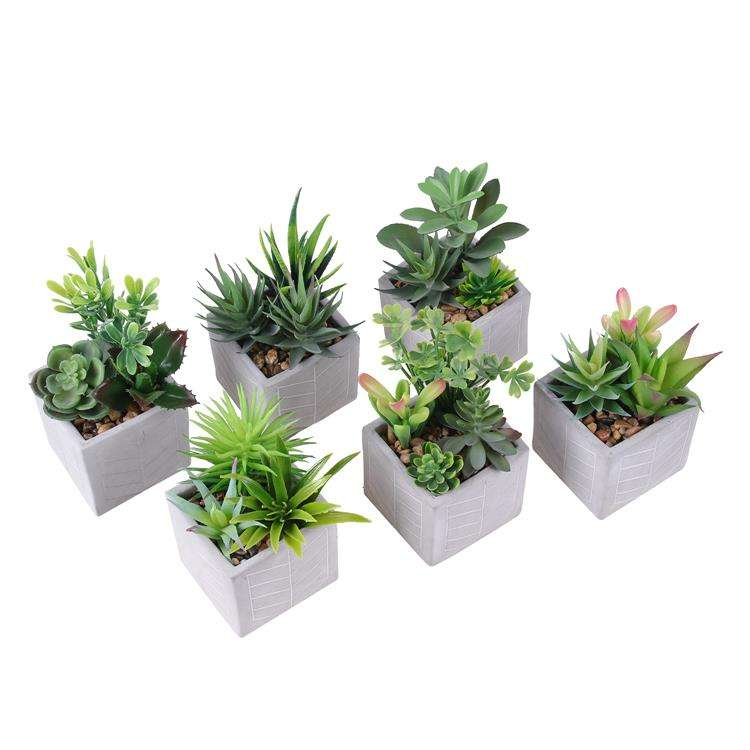 Vivid Simulation Plants Bonsai Landscaping Artificial Succulent Plant with Gray Pots