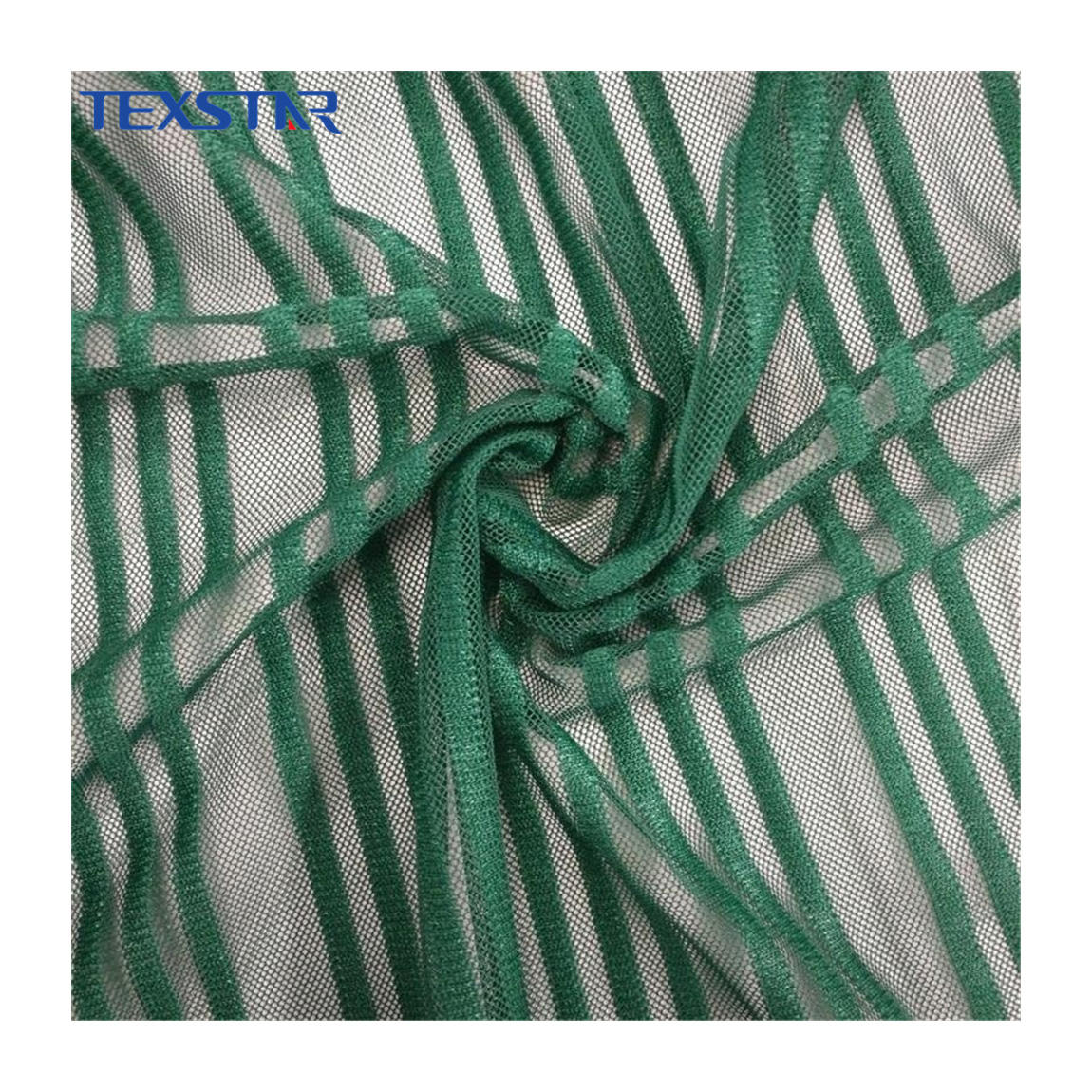Tricot knit stripe stretch eco-friendly spandex soft tulle fabric