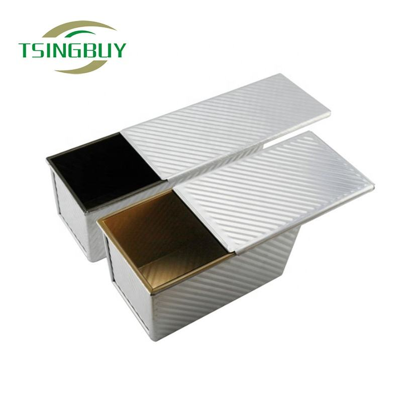 Custom Size Non-stick Rectangular Corrugated Loaf Pan Bread Toast Tin Pullman Bread Baking Pan With Cover