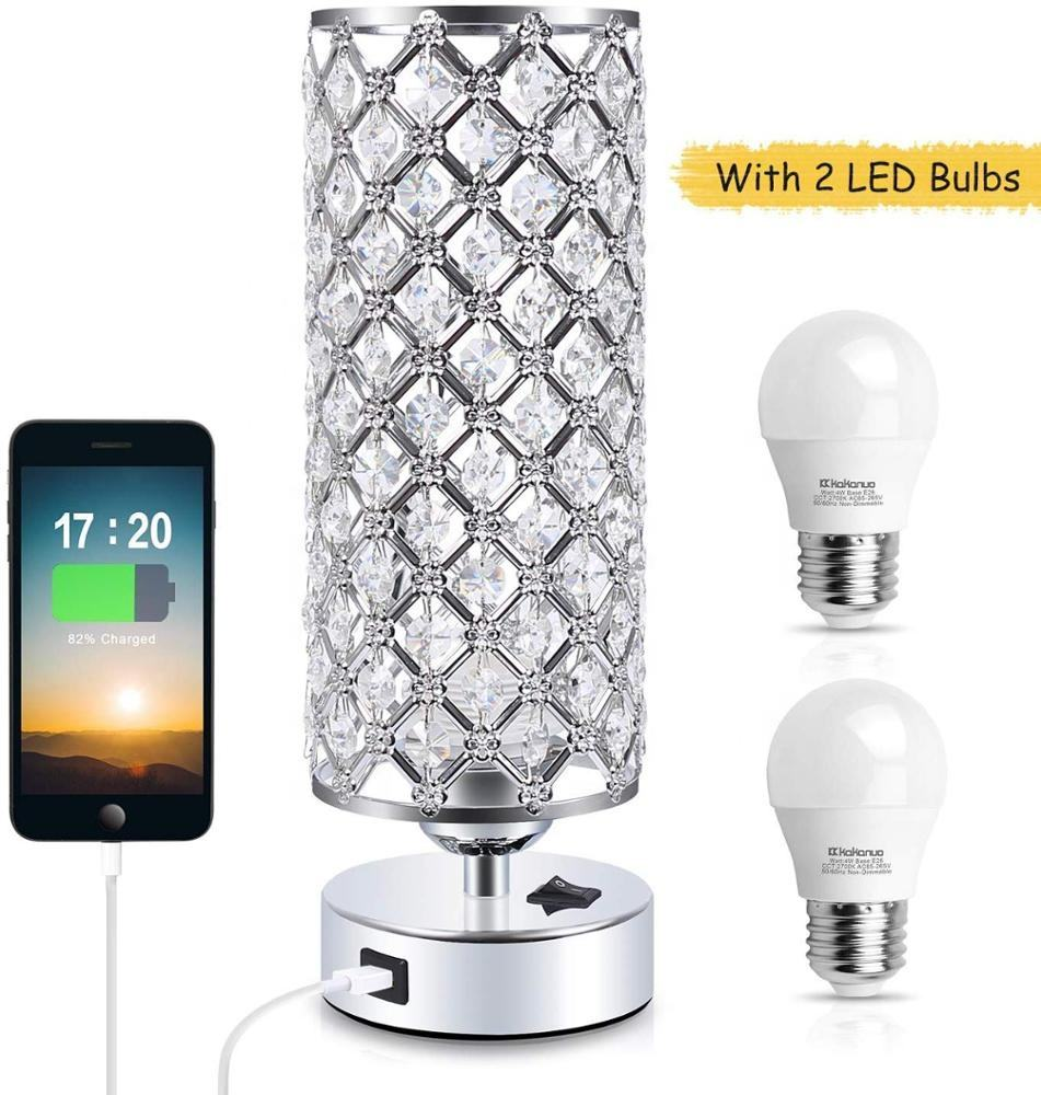 New Crystal Led bedside lamparas USB Ports Table Lamps including 2 bulbs