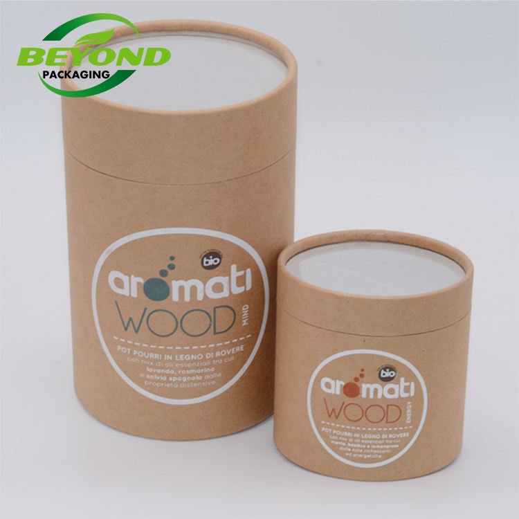 Biodegradable Custom Printing Kraft Cardboard Large Cylinder Cone Paper Tube With PVC Window