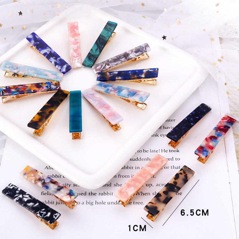 Long Square Marble Effect Acrylic BB Hair Clips Vintage Style Geometric Tortoiseshell Acetate Hairclips For Lady