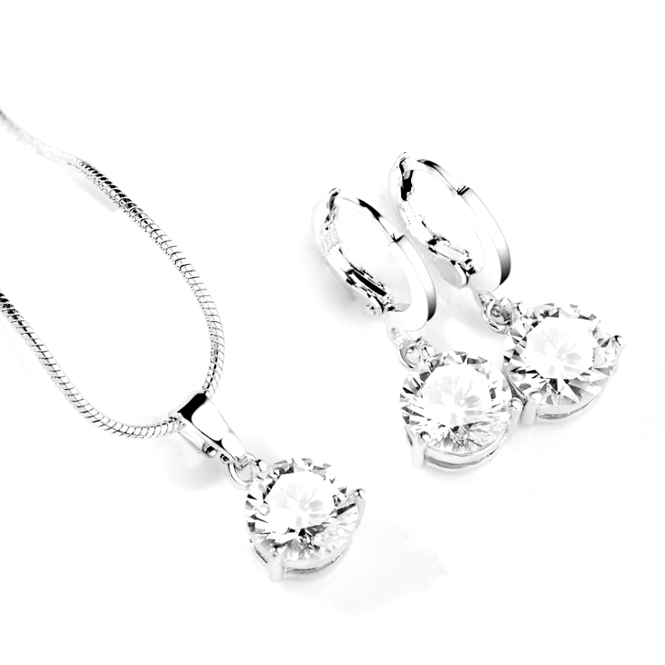 Fashion bride necklace earrings new micro-set crystal zircon jewelry Classic Fashion Jewelry Set