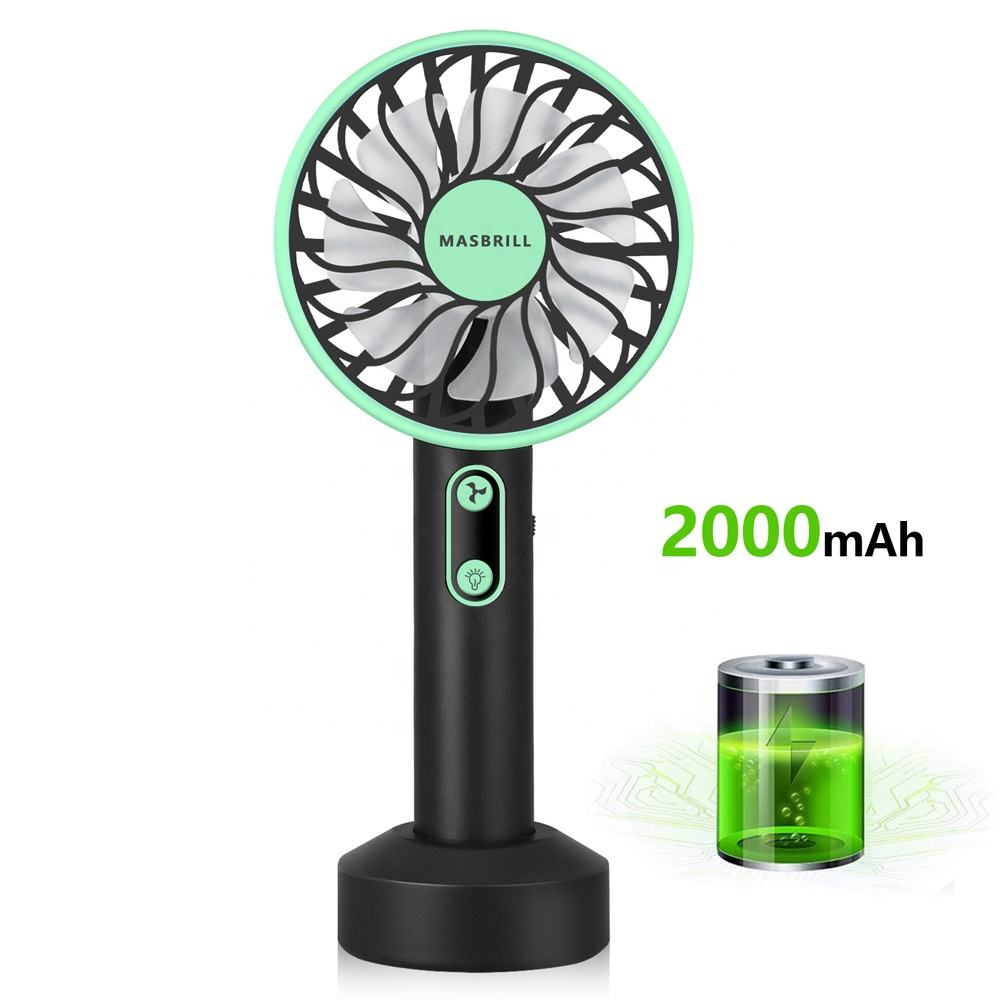 New Design Adjust 180 Degree 2 in 1 Led Light Handy USB Mobile Mini Fan Electric Portable Rechargeable Handheld Fan With Lamp