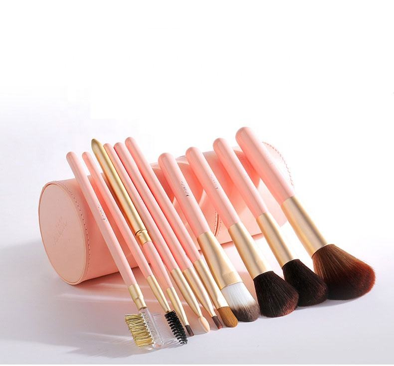 Portable New Design Lovely Professional Fashion 10pcs wool Brush set with PU bag Bucket Holder Barrel box