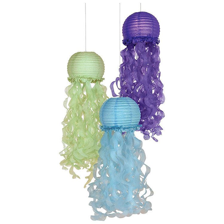 Nicro New Product 9.5 Inch Cheap Folding Mermaid Party Decoration Hanging Paper Jellyfish Lanterns