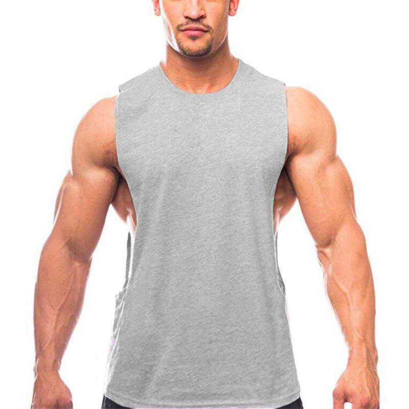 In Stock Custom Sleeveless Sports Casual Breathable Stretch Men Fitness Vest Cotton Tank Top